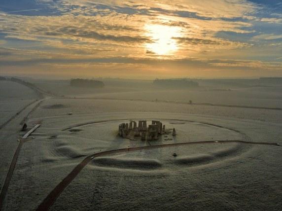Snow-covered Stonehenge,
