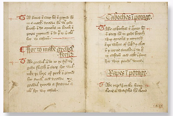 The Forme of Curry manuscript with recipes for potage