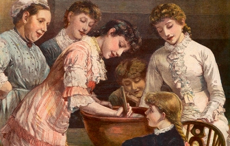 Family taking turns to stir the Christmas pudding, east to west, in 1881.