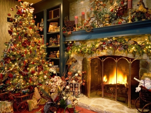 victorian-christmas-ideas-Victorian-decorations-fireplace-mantel-decor-christmas-tree