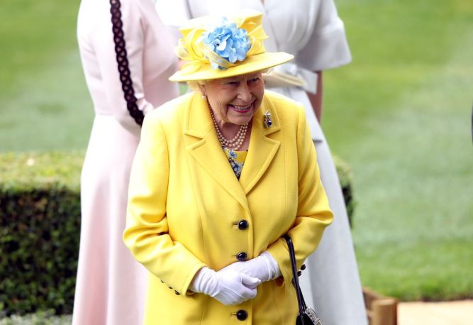 Queen Elizabeth, looking ecstatic in yellow at her favourite event of the year.