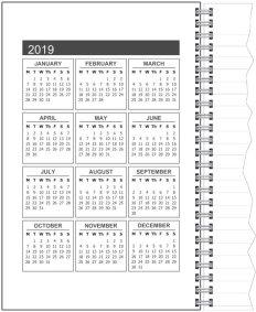 Calendar 2019 /Inside front cover